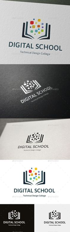 Technical Design College Logo Digital School #school #shape #simple • Click here to download !