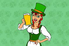 Beautiful leprechaun girl with beer by Rommeo79 on Creative Market