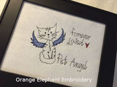 Cat Pet Angel 5x7 Machine Embroidery Design by OrangeElephantEmb