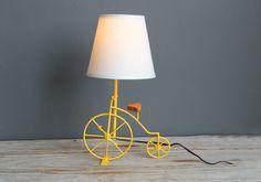 Bright Yellow Bicycle Lamp. $88.00, via Etsy.
