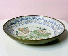 Vintage JAPANESE PORCELAIN Ware on BRASS ~ Lotus Flowers Birds ~ Hong Kong MACAU