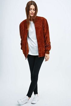 Urban Renewal Vintage Remnants Tan Suede Bomber Jacket - Urban Outfitters