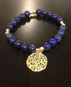 Lapiz Lazuli with Gold Tangle charm bracelet by MariannFernanda, $40.00