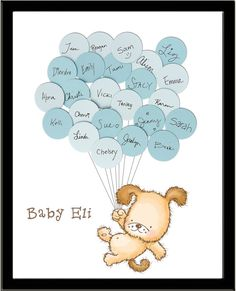 Looking for a cute guestbook for a puppy or dog themed baby shower? Guests sign their names and a short note on the included balloons and
