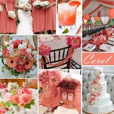 Coral Wedding Color - Coral is a spring and summer favorite. This pink-ish orange color works well with the addition of turquoise or yellow, as well as the neutral white. And gray for me!