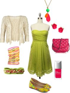 """""""Bright and Summery Sunny Garden Party Outfit"""" by livedreamart on Polyvore"""