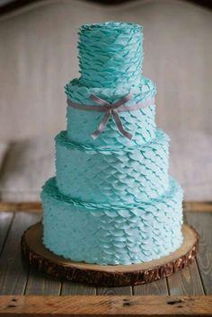 Turquoise ruffled cake! ♡