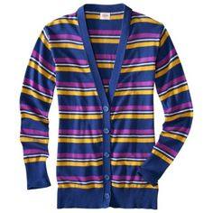Mossimo Supply Co. Juniors Long Sleeve Striped Cardigan - Multi Navy