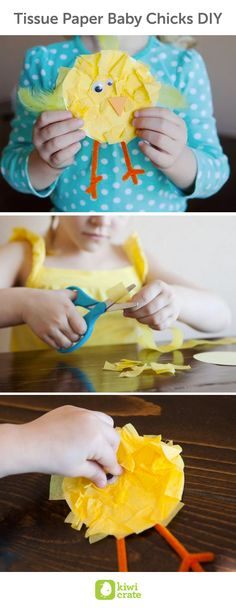 Tissue Paper Baby Chicks DIY! Explore textures while creating these fluffy little baby chicks.