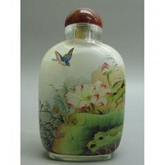 "Old Chinese Glass Inside Painted Snuff Bottle 3""."