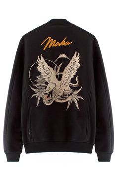 MAHARISHI NAGARKOT EAGLE TOUR JACKET Classic black bomber jacket with eagle embroidery on back and mountain embroidery on the chest. Two outer pockets. 100% Wool. MAHARISHI Founded in 1994 by Hardy Blechman, Maharishi aims to create environmentally sound, fair-trade produced, long-lasting, high-quality, utilitarian clothing. The collection draws on hemp and natural fibers, organic cottons and recycled military clothing.