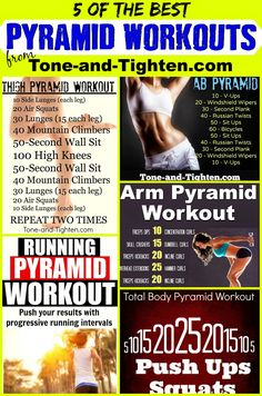 5 AMAZING pyramid workouts all in one place! Weekly Workout Plan from Tone-and-Tighten.com #workout #fitness #exercise