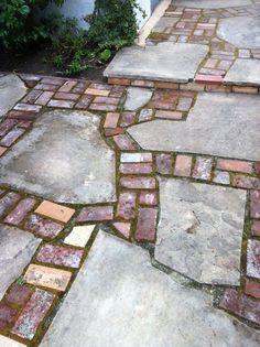 Reclaimed brick and flagstone patio