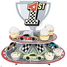 Race Car Trophy Cupcake stand -- Continue to the product at the image link. (This is an affiliate link) #PartySupplies