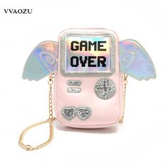 18.99$  Watch here - http://ali086.shopchina.info/1/go.php?t=32815991050 - Harajuku Women Mini Messenger Bag 3D Game Machine Style Game Over Printing Girls PU Chain Shoulder Phone Bags with Wings  #magazineonline