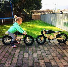 One cool wee lassie 🖤 . Wooden Bicycle, Wood Bike, Kids Ride On, Kids Bike, Toys For Boys, Kids Toys, Scrambler Custom, Baby Bike, Wood Projects For Kids