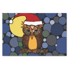 Owl in Santa Hat Christmas Abstract Tissue Paper #owls #Christmas #tissuepaper #birds #abstract #art And www.zazzle.com/inspirationrocks*