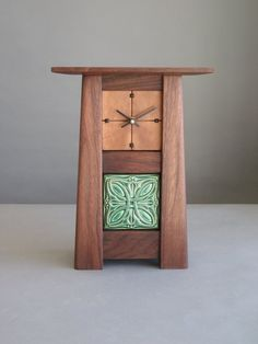 Arts & Crafts Walnut Clock with Motawi Celtic by CArnoldWoodworks