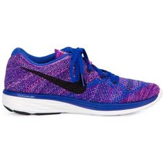 Nike Flyknit Lunar 3 Sneakers (2 265 ZAR) ❤ liked on Polyvore featuring shoes, sneakers, blue, blue sneakers, laced shoes, nike, blue shoes and nike footwear