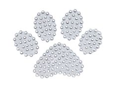 """Bling silver """"puppy love"""" paw print decal."""