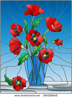 Illustration in stained glass style with bouquets of red poppies flowers in a blue vase on table on a blue background