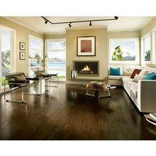From Bruce , the engineered hardwood wide plank in Hickory, Brushed Tumbleweed color, visually opens up a small space. Bruce Hardwood Floors, Hardwood Floor Colors, Hickory Flooring, Engineered Hardwood Flooring, Bruce Flooring, Gq, Vancouver, Hand Scraped Hardwood, Armstrong Flooring