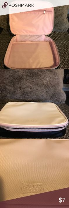 NWOT New Laura Gellar makeup case with handle NEW, Never used.  Laura Gellar Makeup Case Cosmetic Bag.  Pearly white top with 3/4 length zipper. Baby pink inner lining with solid black outer lining on bottom half and bottom.  There is a white handle on the back side of the case.   Smoke free home Laura Gellar Bags Cosmetic Bags & Cases
