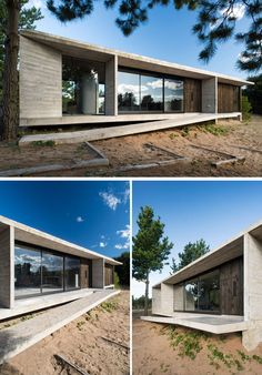 At the front of this modern concrete and wood house, a sloped pathway leads to the door. House In The Woods, My House, Concrete Houses, Concrete Board, Luxury House Plans, Luxury Houses, Modern House Design, Modern Houses, Exterior Design