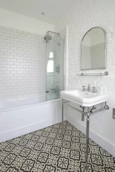 Bathroom renovation ideas. Love the subway tiles, white too/black bottom approach. Very clean and enlarging
