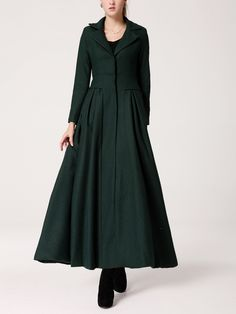 Long Black Dress Coat with Mandarin Collar - Single Breasted Coat ...