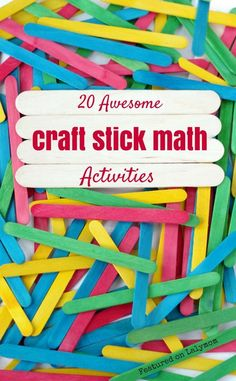 20 fun math activities for kids using craft sticks.  Activities include ideas for counting, patterns, shapes, math facts and more!