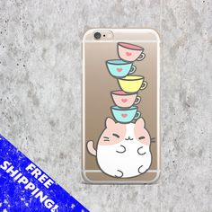 Cat case Samsung S7 Kawaii iPhone 6S case Cute Samsung S7 Edge case Clear iPhone 6 Plus TPU case Samsung S6 Pusheen case iPhone 7 funny
