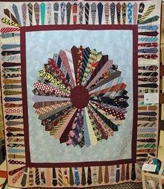 Tie Quilt - Pictures of Theme and Novelty Quilts - Necktie Quilt Dresden Quilt, Quilting Projects, Sewing Projects, Quilting Ideas, Diy Projects, Necktie Quilt, Yo Yo Quilt, Tie Crafts, Recycling