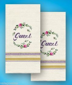 Embroidery guest handtowels