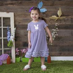 Purple Stripe Squinchy Cotton Dress
