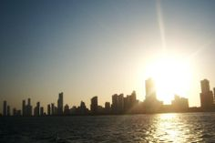 """Anotjer from my collection title """"Horizontes"""", this one is from the view of the boat on the way back to Old Cartagena. The skyline of the Modern Cartagena lighten up by the sunset, Colombia, circa 2013."""