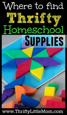 Where to find thrifty home school supplies!  If you want homeschool supplies to help sumpliment your teaching there are lots of thrifty places to gather great materials! #daycaresupplies