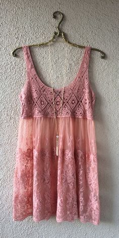 Image of New Arrival!!  Coral peach lace and crochet beach surfer coverup dress