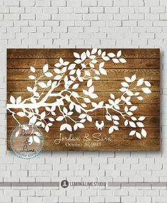 Wedding Tree Guest Book Wedding Guest Book, Wedding Gift Wedding Guestbook Alternative Bridal Shower Gift Wedding Signs Wood Guest Book Tree More material added! Now you can get this design printed on Canvas Or Wood Or Poster(paper). Select your size and material from a dropdown menu under Dimensions This wedding tree guest book is so perfect to turn your guestbook print into a fine art that you can hang on the wall as a reminder of your special day. You can personalized this guest book…