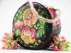 Leather bag and embroidery    Large Teal   Purse by FediyS on Etsy