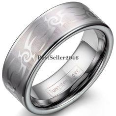 8mm Men's Tungsten Ring Silver Laser Tribal Flat Comfort Fit Matte Wedding Band…