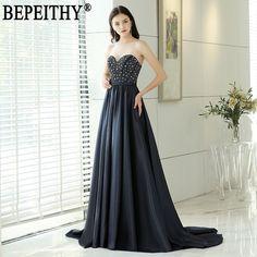 6148073e1dfa1 US $76.72 44% OFF|Aliexpress.com : Buy BEPEITHY Vestido De Festa New Design  Sweetheart Beading Navy Blue Satin Sash Long Evening Dresses 2019 from  Reliable ...