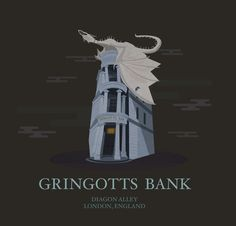 """She depicts Gringotts bank as it is in The Wizarding World of Harry Potter theme park, with the pale vault dragon from The Deathly Hallows breathing fire on the roof. 