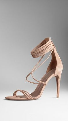 Created to celebrate the launch of My Burberry, the new fragrance for women Elegant kidskin suede sandals with distinctive slim straps 10cm, 3.9in suede-covered heel Front crossover detail and ankle straps Back zip closure, refined leather sole