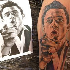 Johnny Cash Tattoo By Chris Jones brought to life from this black white portrait Body Art Tattoos, Cool Tattoos, Tatoos, Portrait Tattoos, Home Tattoo, Tattoo You, Johnny Cash Tattoo, Nashville, Sweet Tattoos