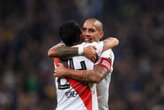 Jonathan Maidana of River Plate and Enzo Perez of River Plate. Victorious, Finals, First Time, Madrid, Two By Two, Plates, Celebrities, Game, Champs