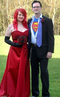 We just love non-traditional wedding dresses! Here we see a lovely Jessica Rabbit marrying a dashing Clark Kent.