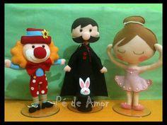 Palhaço, Mágico e Bailarina, tema circo, em feltro!