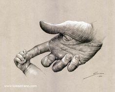 """""""Dame tu mano"""" Lápiz y creta blanca sobre papel"""