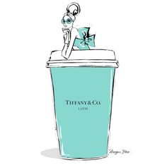 Monday Coffee in Tiffany Blue! By Megan Hess.You can find Tiffany blue and more on our website.Monday Coffee in Tiffany Blue! By Megan Hess. Megan Hess Illustration, Illustration Mode, Coffee Illustration, Watercolor Illustration, Tiffany E Co, Azul Tiffany, Tiffany Jewelry, Tiffany Room, Poster Café